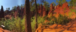 Panoramic views oh the ocher trail in Roussillon in Provence in the south of France... France