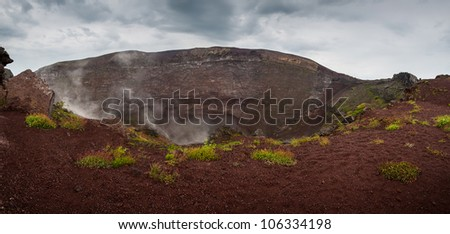 Panoramic views, top of the crater of the volcano Vesuvio. The province of Campania. Italy. - stock photo