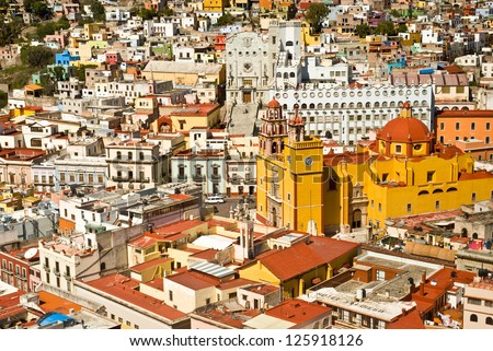 Panoramic vista of colorful buildings in downtown Guanajuato Mexico