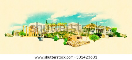 panoramic water color athens...