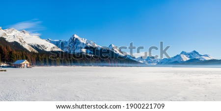 Panoramic winter view of Maligne Lake in Jasper National Park, Canada Stock photo ©