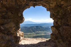 Panoramical view from Cathar castle Queribus over valley in Occitania, France