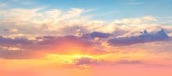 Panoranic Sunrise Sundown Sky with colorful clouds and real sun,  panorama