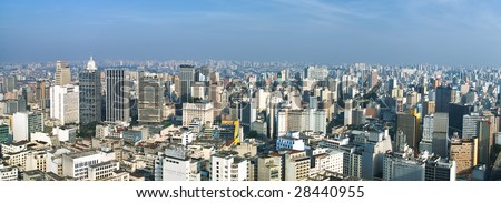 Panorma of San Paolo skyline from the banesco building, Brazil