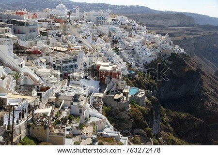 Panormaic view of the city of Fira with its cubiform buildings on Santorini Island, Greece. #763272478