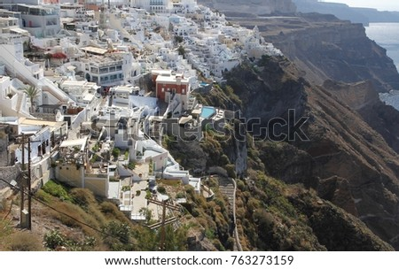 Panormaic view of the city of Fira with its cubiform buildings on Santorini Island, Greece. #763273159