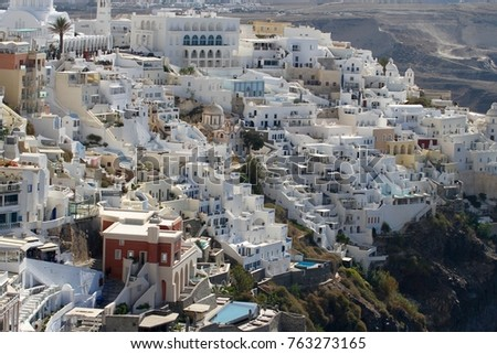 Panormaic view of the city of Fira with its cubiform buildings on Santorini Island, Greece. #763273165