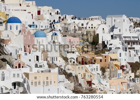 Panormaic view of the city of Fira with its cubiform buildings on Santorini Island, Greece. #763280554