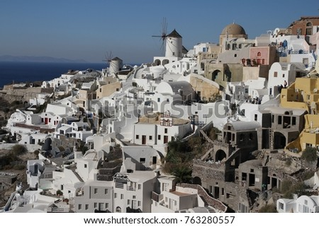 Panormaic view of the city of Fira with its cubiform buildings on Santorini Island, Greece. #763280557