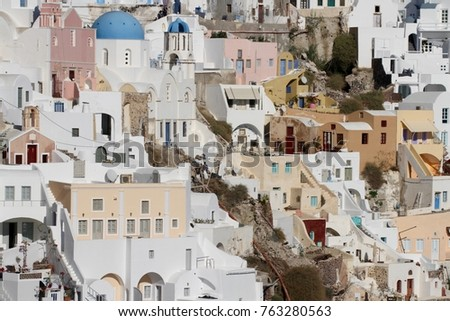 Panormaic view of the city of Fira with its cubiform buildings on Santorini Island, Greece. #763280563