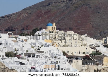Panormaic view of the city of Fira with its cubiform buildings on Santorini Island, Greece. #763288636