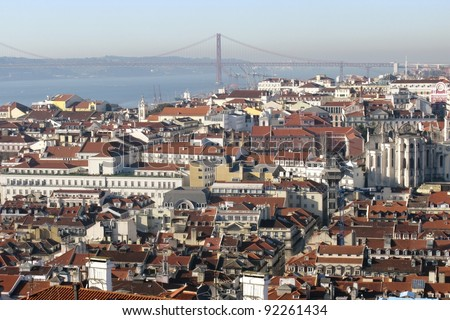 Panoroma of Lisbon the capital city of Portugal with the river tagus