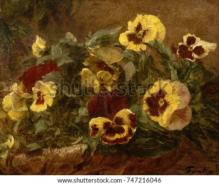 Pansies, by Henri Fantin-Latour, 1903, French impressionist painting, oil on canvas. This study of pansies in a basket was one of Fantin-Latours last paintings