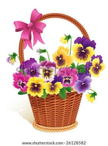Pansies in a basket - raster version
