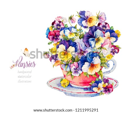 Pansies. Violets. Bouquet of flowers. Botanical watercolor illustration. Cup with flowers.
