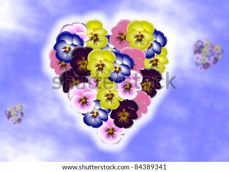 Pansy flowers forming shape of a heart on a blue sky background / Flower heart