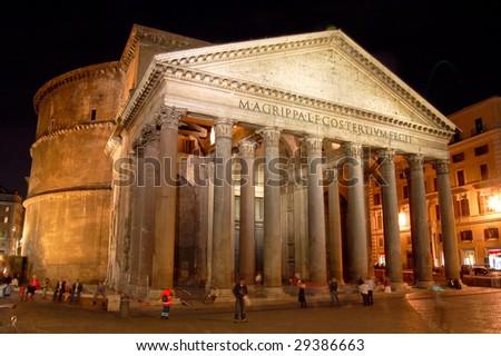Pantheon at Night, Rome - stock photo