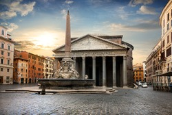 Pantheon in Rome at the sunset, Italy