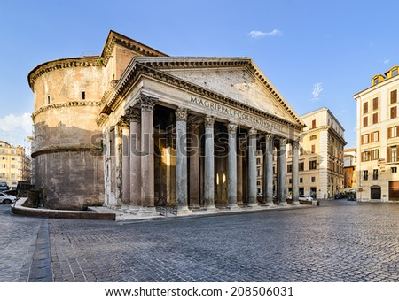 Pantheon in Rome, Italy on a sunny morning