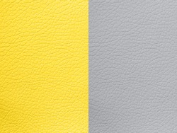 Pantone trend color of the Year 2021Illuminating yellow and Ultimate Grey. Texture Leather Bumpy Pattern Copy Space Design template  flyer card poster brochure banner Modern backdrop  Leather closeup