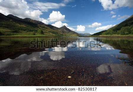 Pap of  Glencoe and Summer reflections in Loch Leven a popular outdoor holiday destination in the Highlands Of Scotland.