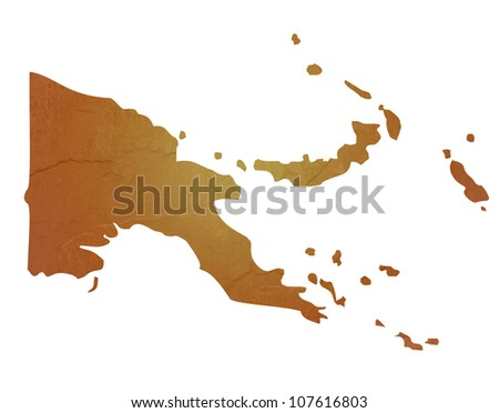 Papa New Guinea map with brown rock or stone texture, isolated on white background with clipping path.