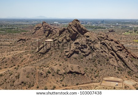 Papago Buttes with downtown Tempe, Arizona in the distance