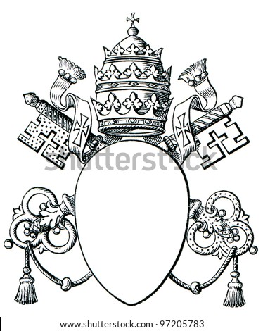 "Papal coat of arms, and Tiara. The Roman Catholic Church. Publication of the book ""Meyers Konversations-Lexikon"", Volume 7, Leipzig, Germany, 1910"