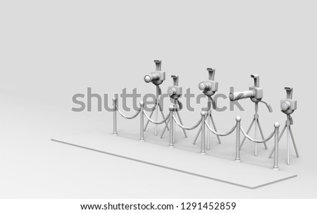 Paparazzi cameras on tripods in a movie premiere carpet. 3D illustration