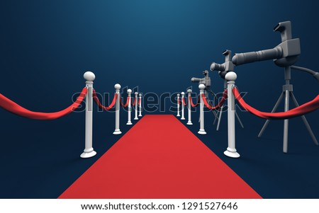 Paparazzi cameras on tripods in a movie premiere red carpet. 3D illustration