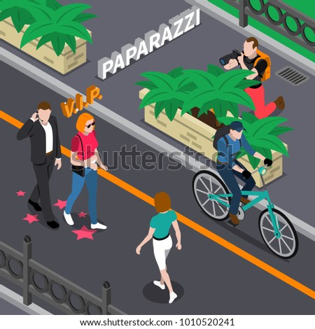 Paparazzi doing photo of celebrities during walking from bushes at street in summer isometric  illustration