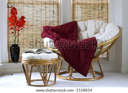 Papasan chair w cushion stool and vase with Gladiolus flowers