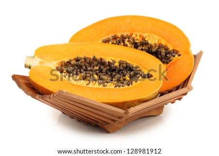Papaya fruit sliced isolated on a white background