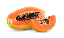 papaya fruit with seeds isolated on white background. full depth of field