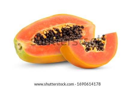 papaya fruit with seeds isolated on white background. full depth of field Stockfoto ©