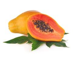 Papaya fruits isolated on white background.
