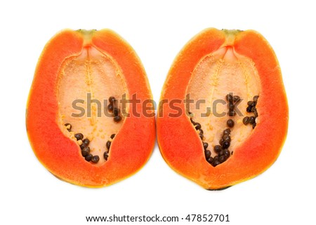 Papaya halves on white