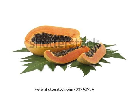 Papaya isolated white background