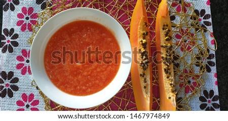 Papaya puree, baby food 6 months + #1467974849