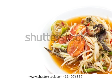 papaya salad with crab on  white background.