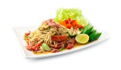 Papaya Spicy Salad in pickled fish sauce Thai food spicy style appetizer the popular of Thailand decorate with carved vegetables goodtasty and goodfood for diet side view