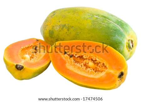 Papaya: Whole and Halved with Clipping path