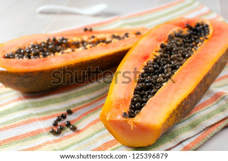 Papaya with seeds ripe and fresh horizontal