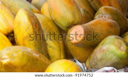 Papayas on market - San Jose, Costa Rica