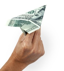 Paper aeroplane, one hundred dollar with outline path