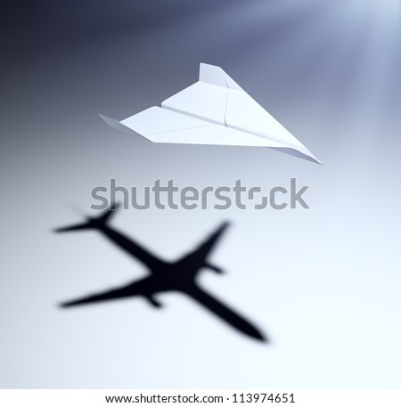 Paper airplane casting a shadow of a jetliner - vision and aspirations concept illustration