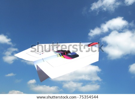 Paper airplane made of a financial report in the sky