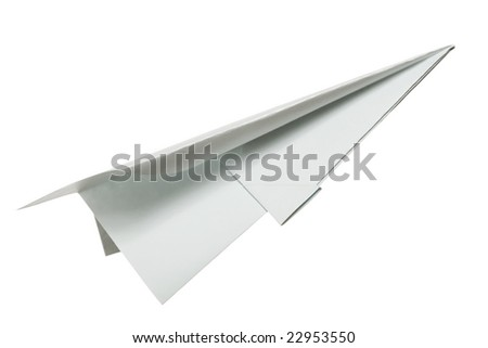 Paper airplane on white