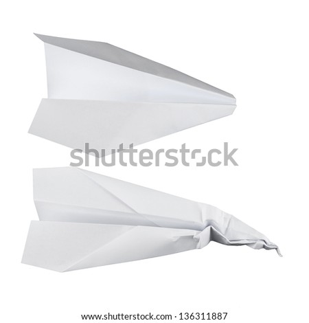 Paper airplane set isolated over white, battered and normal one