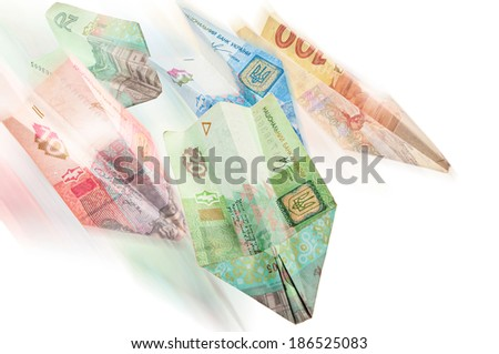 Paper airplanes of Ukrainian money